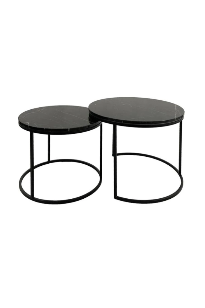 F.W - ENTERPRISE COFFEE TABLE - SET 2 - BLACK MARBLE - Tempted Kensington
