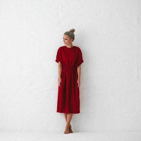 SEASIDE TONES - LINEN DRESS - RED