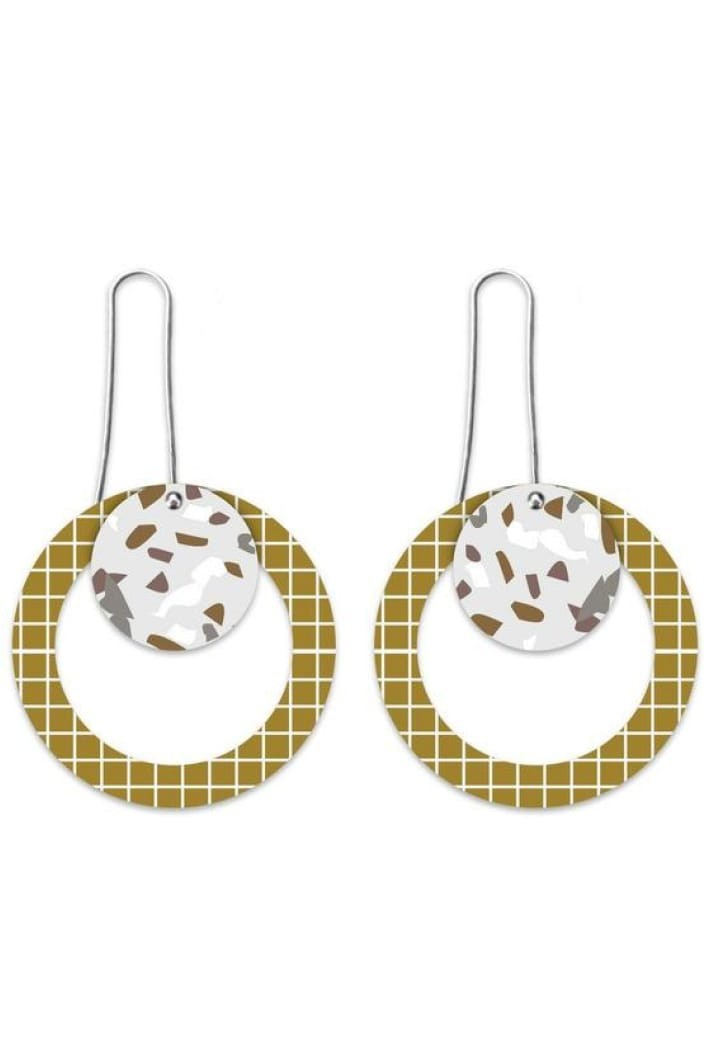 MOE MOE - NEUTRAL TONES TERRAZZO GRID LAYERED CIRCLE OUTLINE LONG DROP EARRINGS - Tempted Kensington