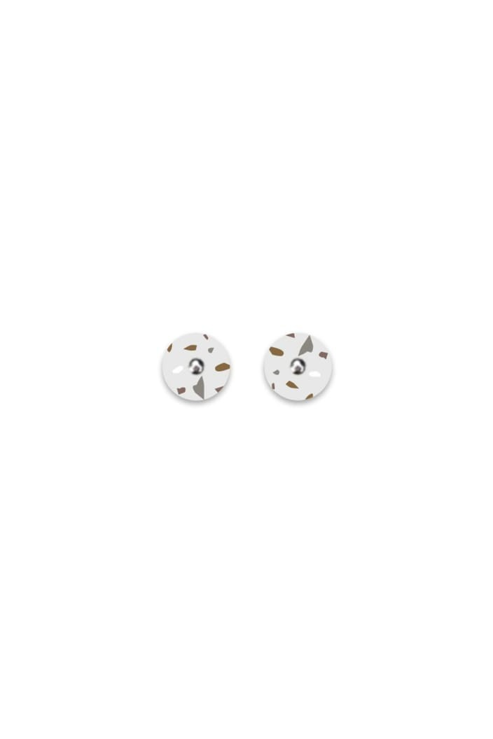 MOE MOE - NEUTRAL TONES TERRAZZO GRID MINI CIRCLE STUD EARRINGS-Tempted Kensington-Tempted Kensington