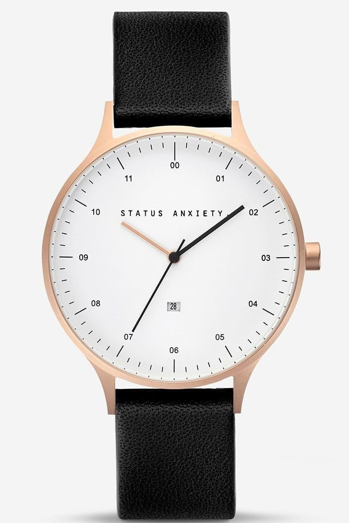 STATUS ANXIETY - INERTIA WATCH - BRUSHED COPPER AND WHITE FACE WITH BLACK STRAP - Tempted Kensington