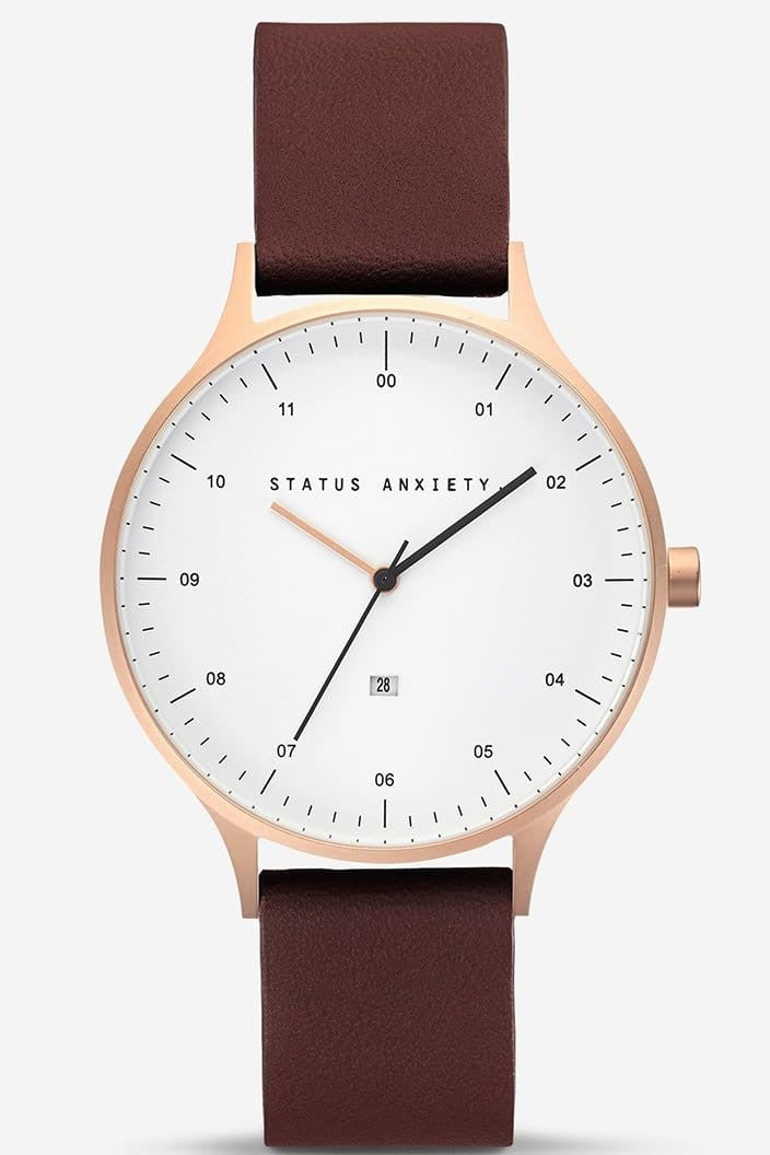 STATUS ANXIETY - INERTIA WATCH - BRUSHED COPPER AND WHITE FACE WITH BROWN STRAP - Tempted Kensington