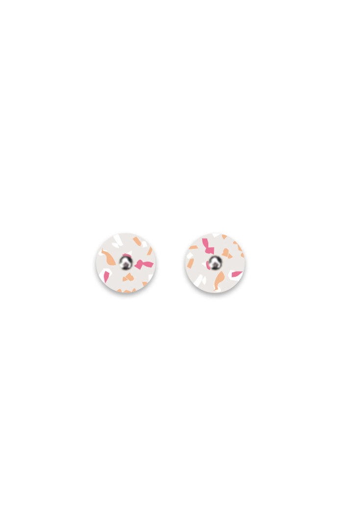 MOE MOE - WARM TERRAZZO MINI CIRCLE STUD EARRINGS - Tempted Kensington