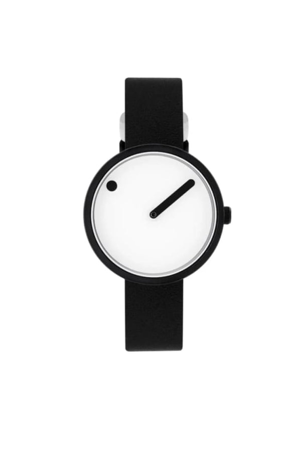 PICTO - WATCH 30MM MATTE BLACK AND WHITE FACE WITH BLACK LEATHER BAND - Tempted Kensington