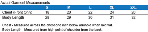 Men's Cotton Tank Top Sizing Chart