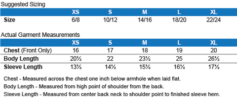 Youth Cotton Tee Sizing Chart