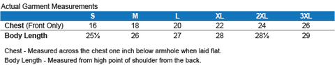 Ladies' Softstyle Racerback Tank Sizing Chart