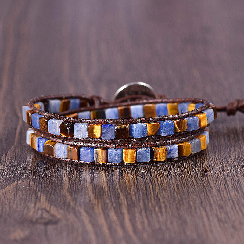 Blue Quartz & Tiger Eye 2-Wrap Bracelet