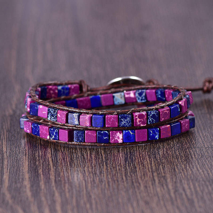 Purple & Blue Jasper 2-Wrap Bracelet