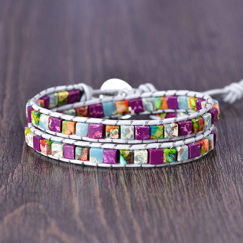 Purple Multi-Jasper 2-Wrap Bracelet