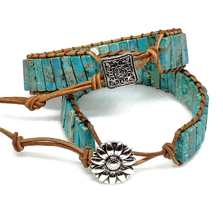 Light Blue Jasper Leather Wrap Bracelet