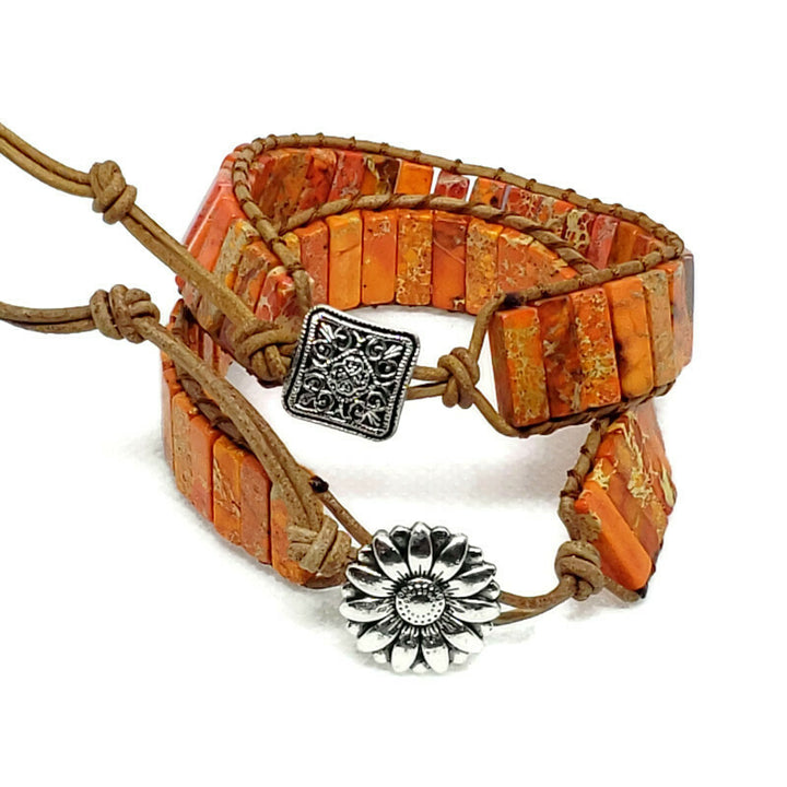 Orange Jasper Leather Wrap Bracelet