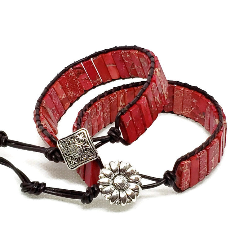 Red Jasper Leather Wrap Bracelet
