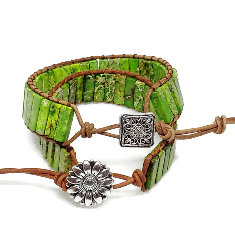 Light Green Jasper Leather Wrap Bracelet
