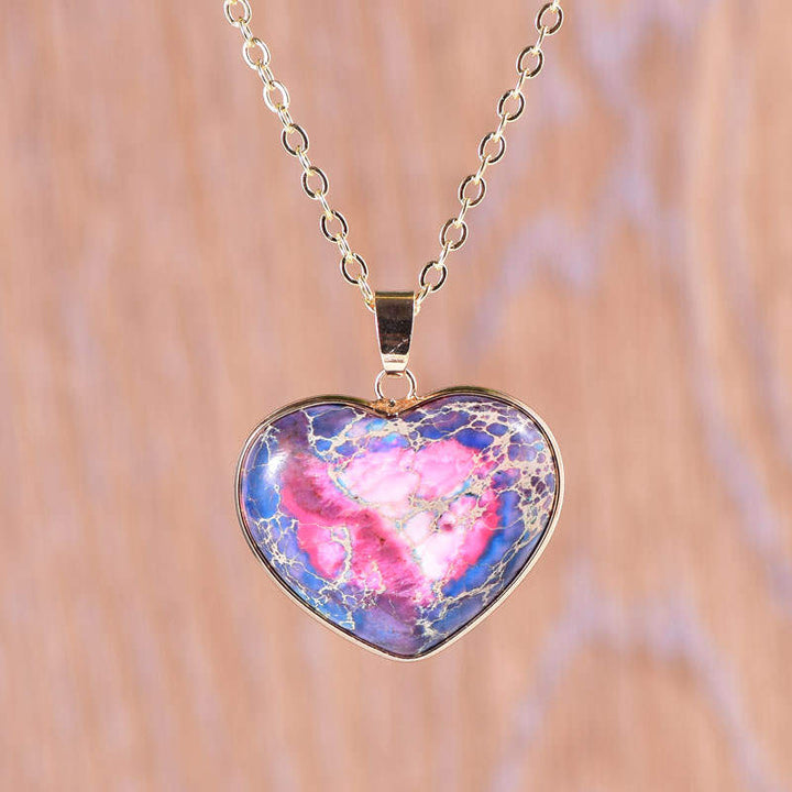 Blue-Pink Jasper Heart Necklace