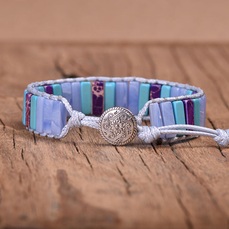Blue-Purple Jasper Vegan Wrap Bracelet