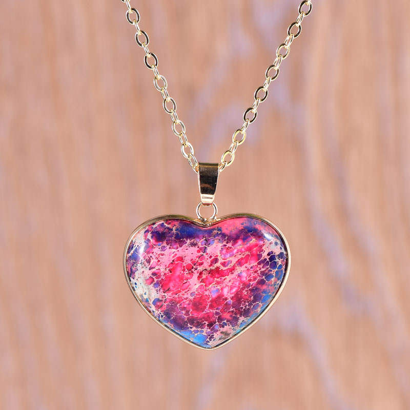 Blue-Red Jasper Heart Necklace