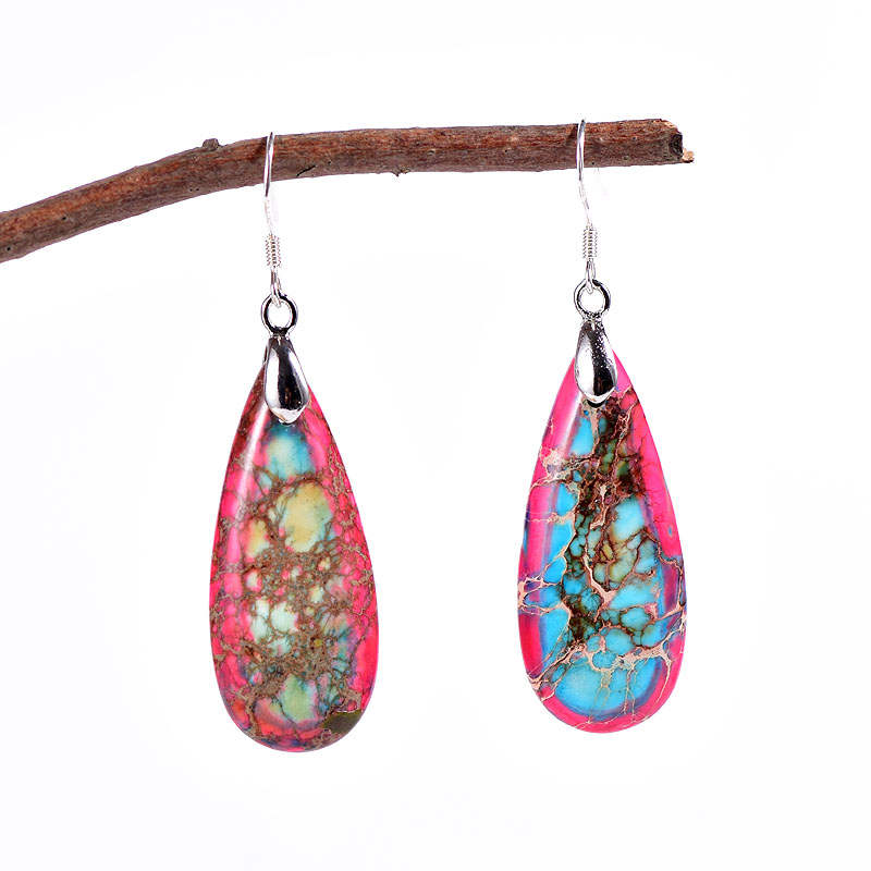 Red-Blue Jasper Teardrop Earrings