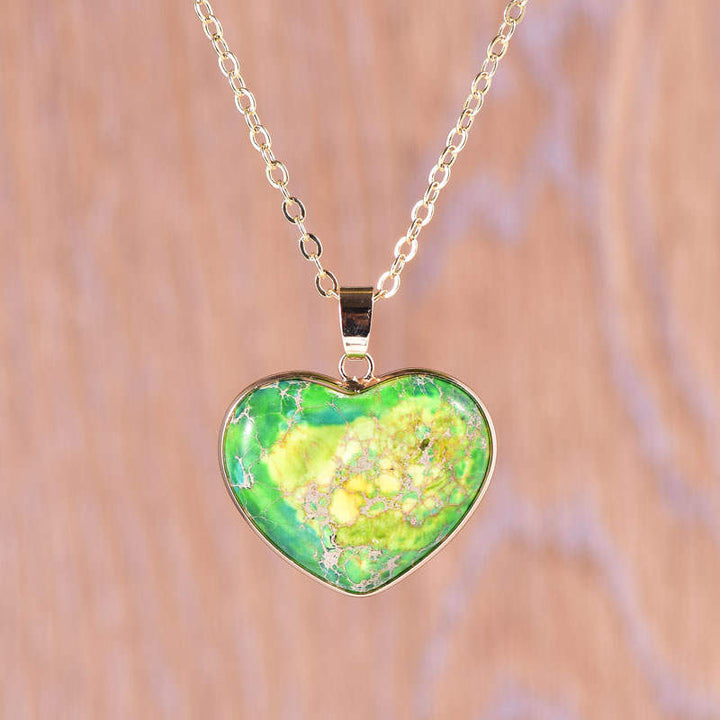 Green Jasper Heart Necklace