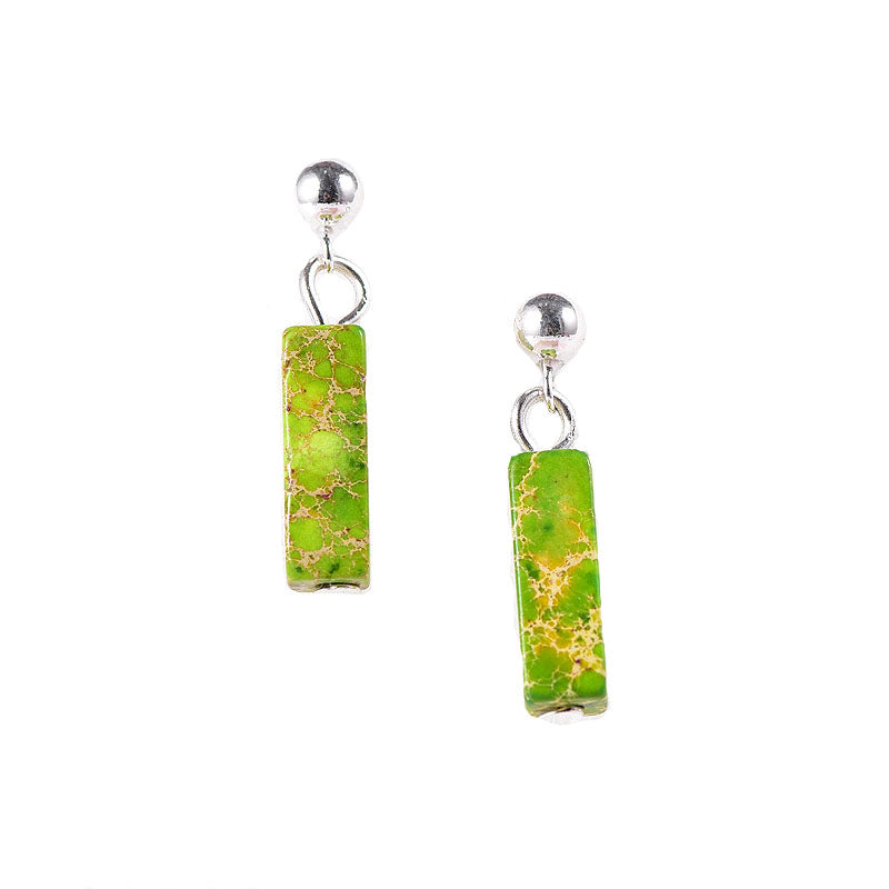 Light Green Jasper Sterling Silver Drop Earrings