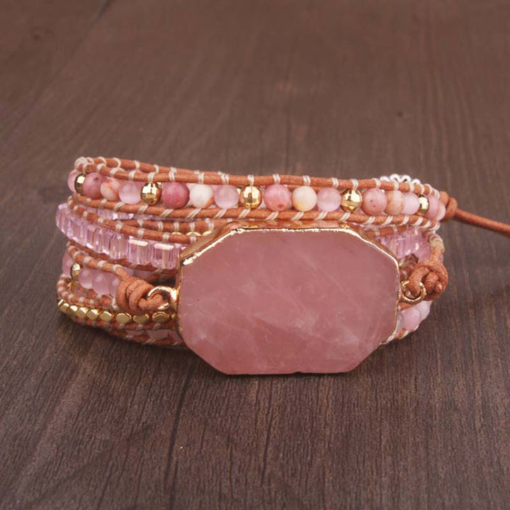 Rose Quartz Leather 5-Wrap Bracelet