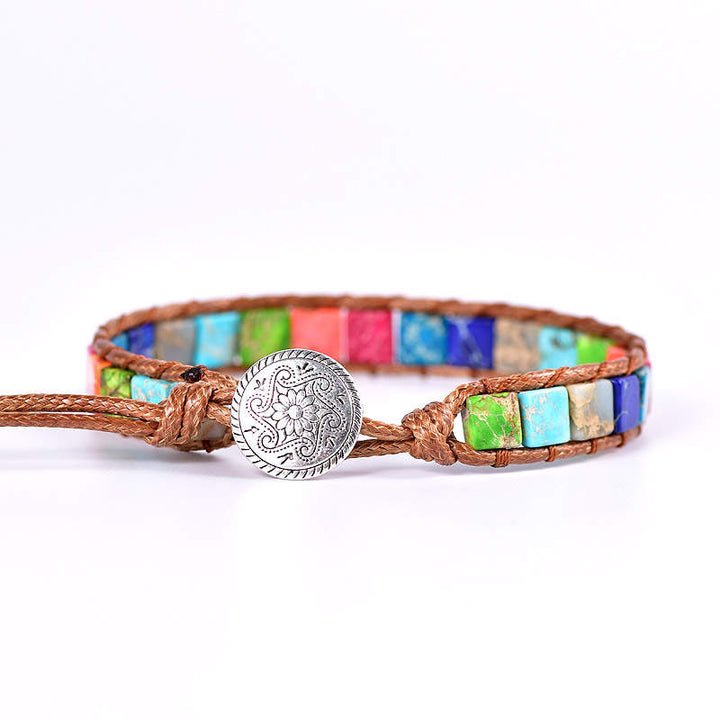 Multi-Color Thin Jasper Vegan Wrap Bracelet