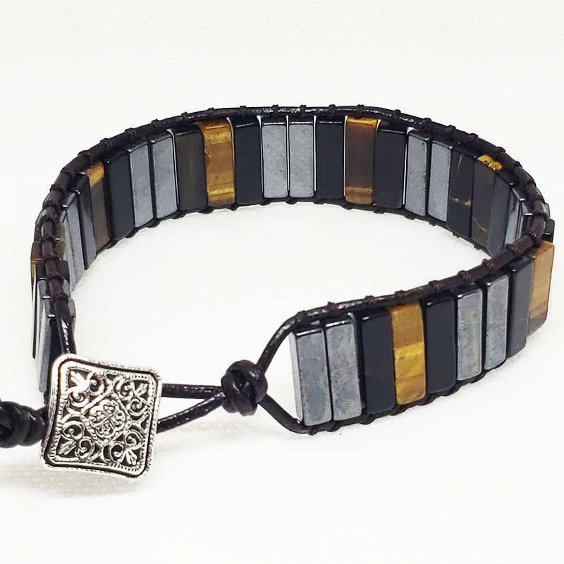 Triple Protection Leather Wrap Bracelet