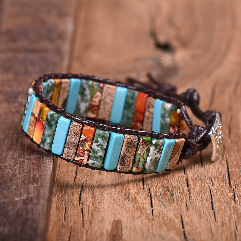 Mixed Stone Vegan Wrap Bracelet