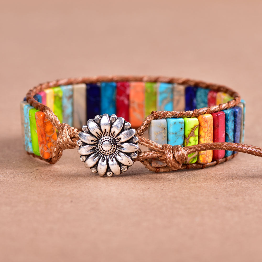 Multi-Color Jasper Vegan Wrap Bracelet