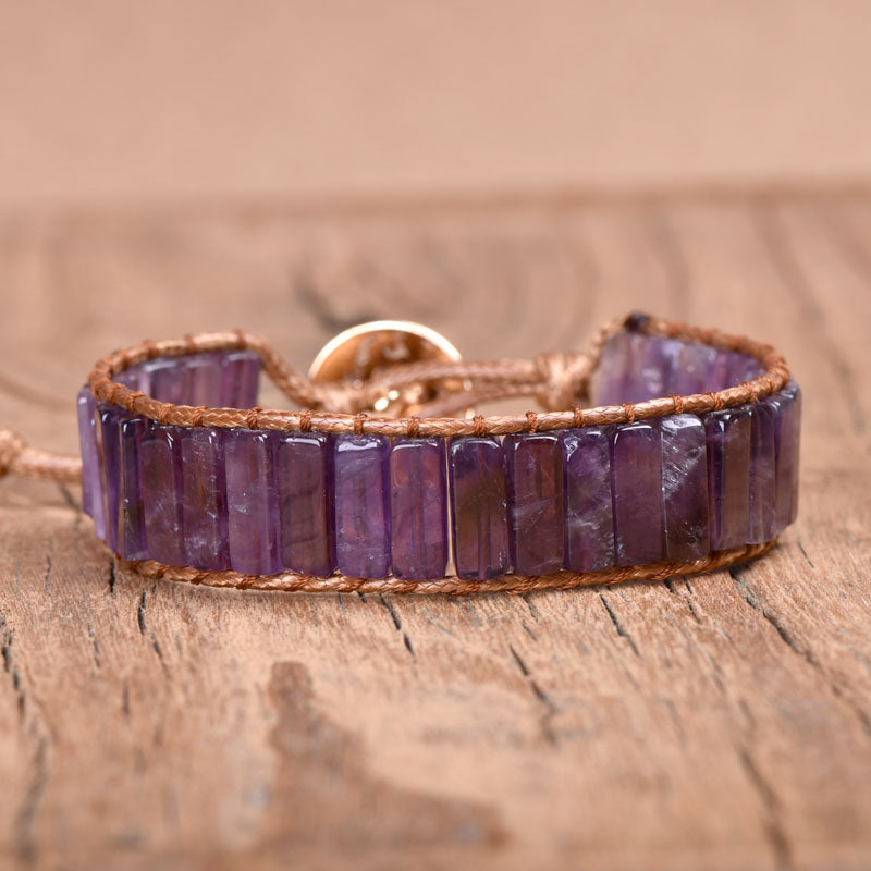 Purple Amethyst Vegan Wrap Bracelet