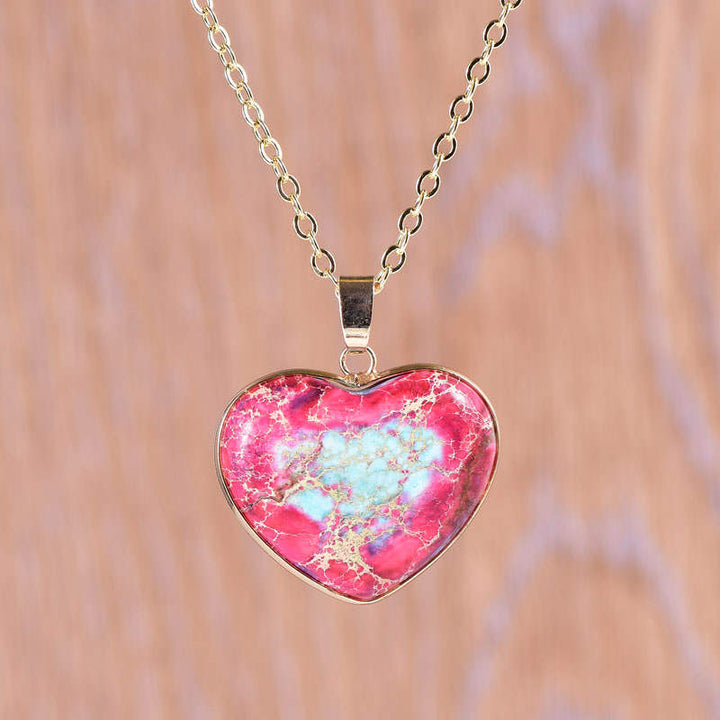 Red-Blue Jasper Heart Necklace