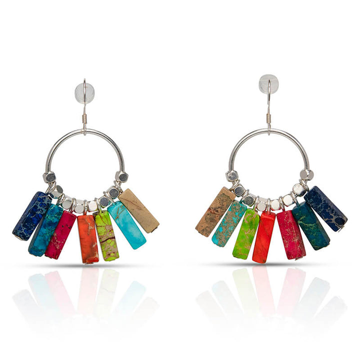 Multi-Color Jasper Sterling Silver Earrings