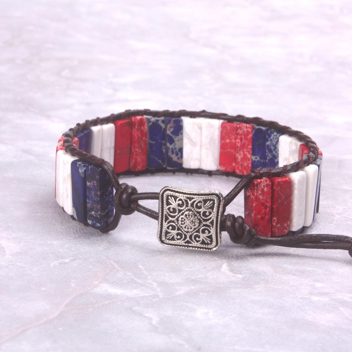 Red-White-Blue Jasper Leather Wrap Bracelet