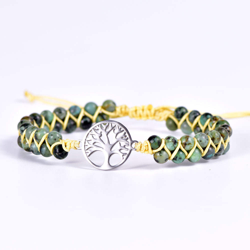 Green African Jasper Tree of Life Vegan Adjustable Bracelet