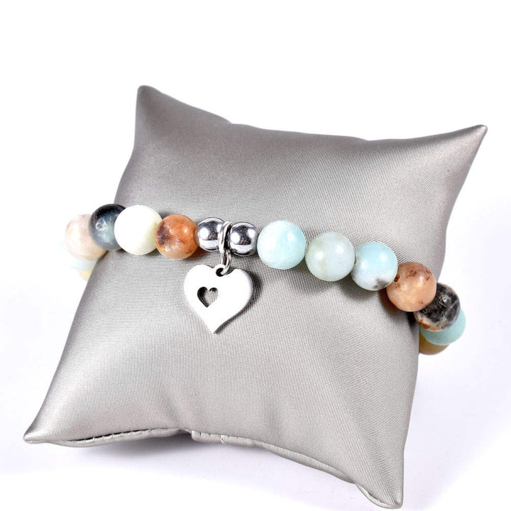 Amazonite Bracelet with Open Heart Dangle