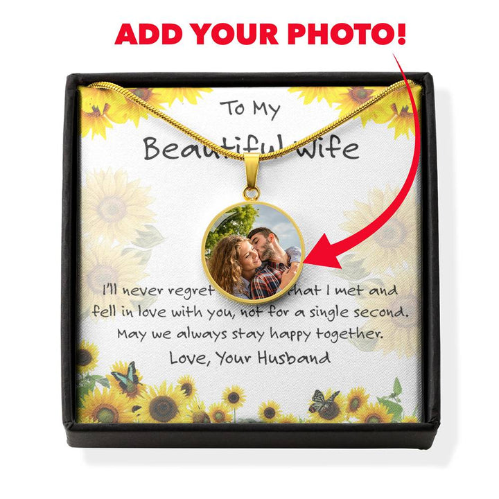 Round Photo Necklace with Sunflower Card for My Wife