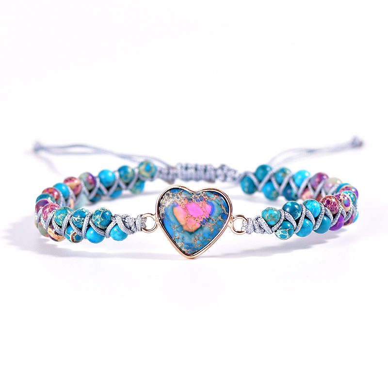 Blue-Pink Jasper Heart Vegan Adjustable Bracelet