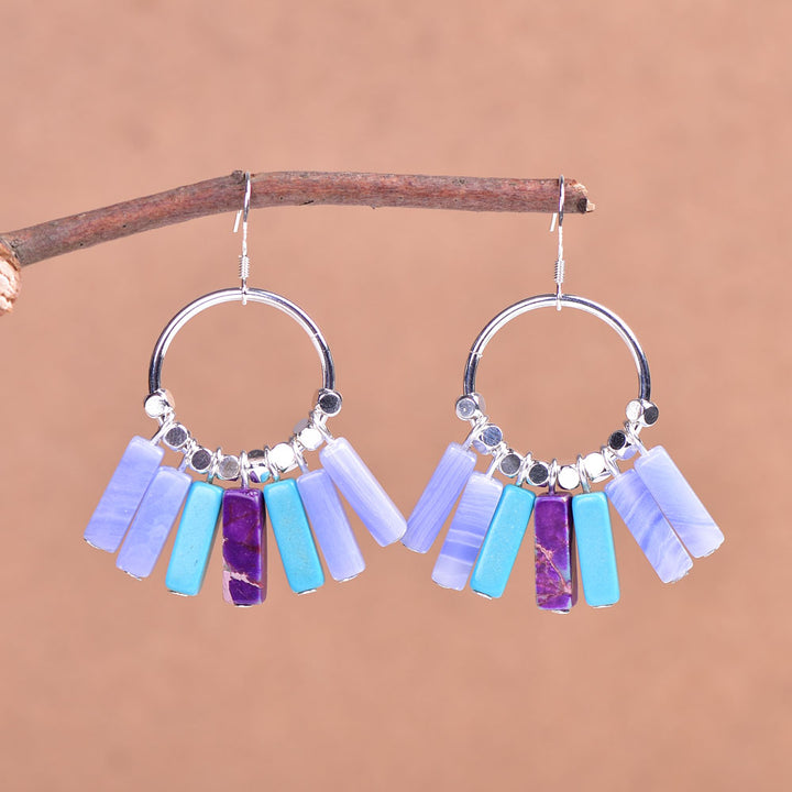 Blue-Purple Jasper Sterling Silver Earrings