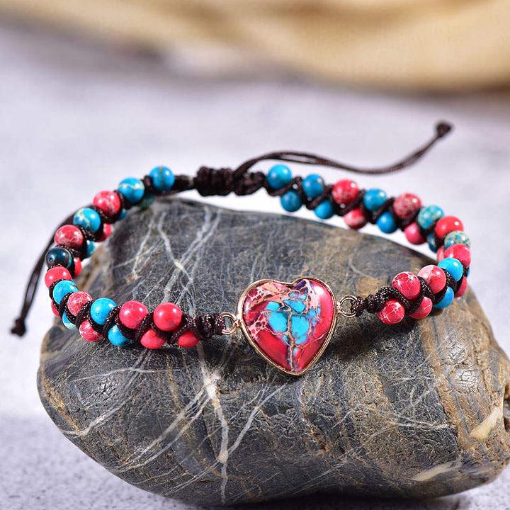 Blue-Red Jasper Heart Vegan Adjustable Bracelet