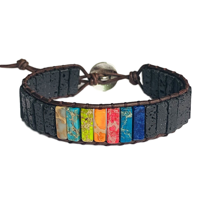 7-Chakra Jasper Lava Stone Leather Wrap Bracelet