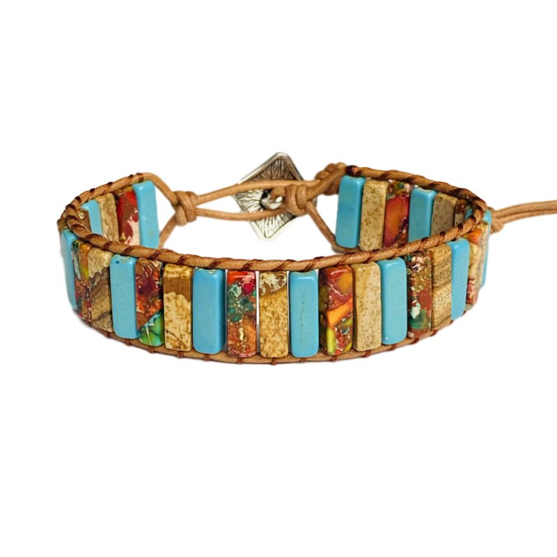 Mixed Earth-Tone Leather Wrap Bracelet