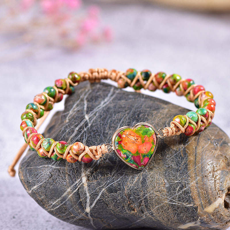 Funky Jasper Heart Vegan Adjustable Bracelet
