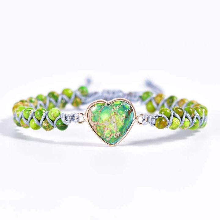 Green Jasper Heart Vegan Adjustable Bracelet