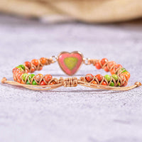 Green-Orange Jasper Heart Vegan Adjustable Bracelet