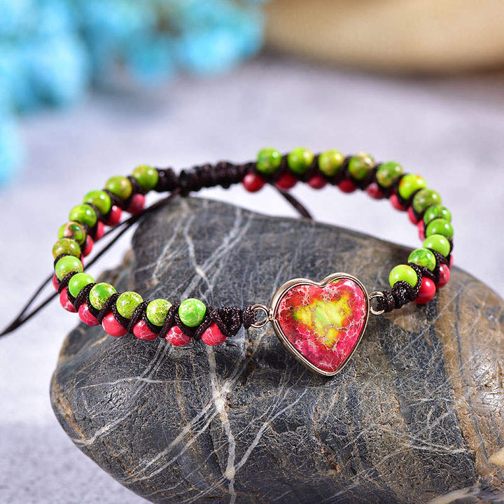 Green-Red Jasper Heart Vegan Adjustable Bracelet