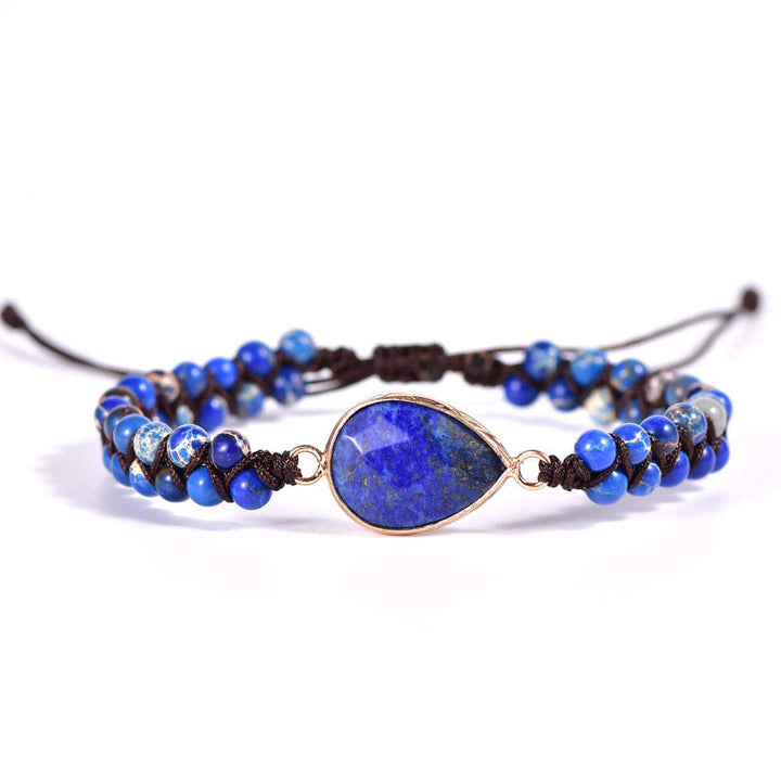 Jasper and Lapis Lazuli Vegan Adjustable Bracelet