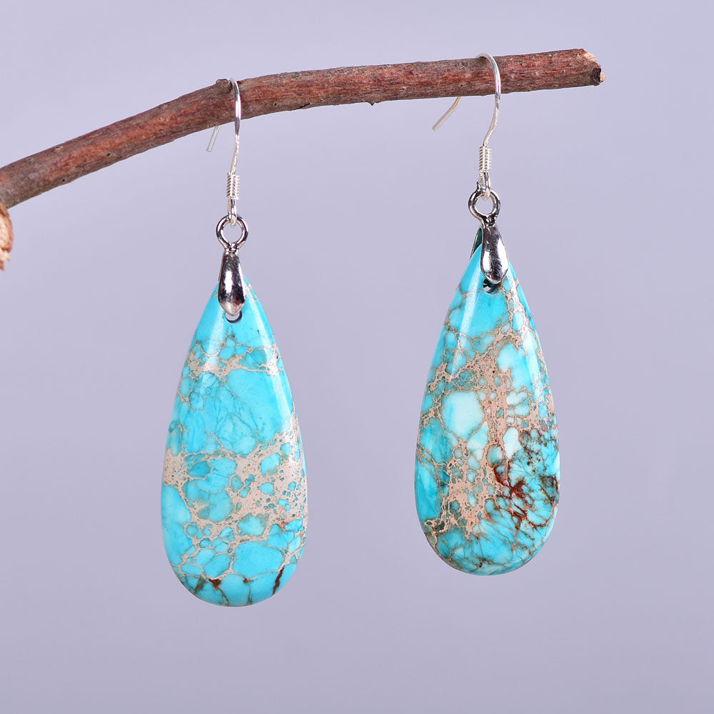 Light Blue Jasper Teardrop Earrings