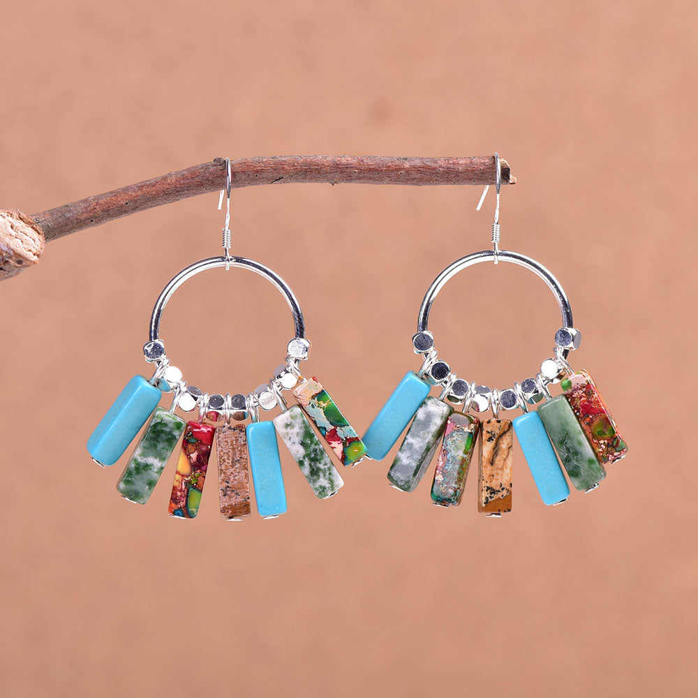 Mixed Stone Sterling Silver Earrings