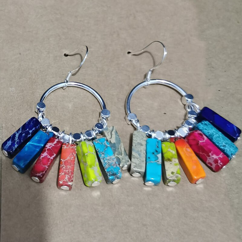 Multi-Color Jasper Stainless Steel Earrings