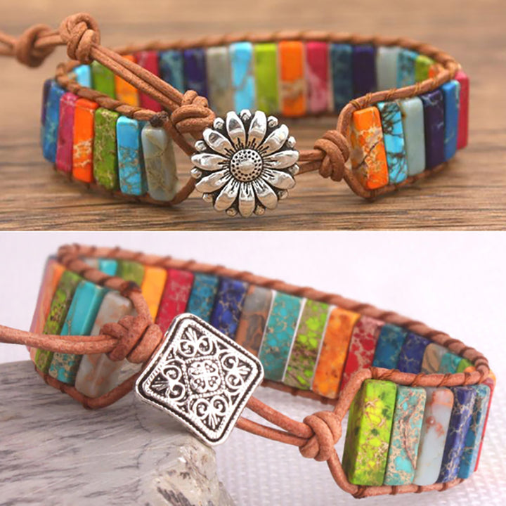 Multi-Color Jasper Leather Wrap Bracelet